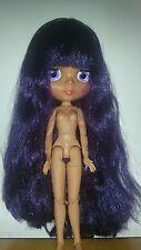 """NUDE FACTORY 12"""" NEO Blythe Doll Tan con i capelli Viola UK venditore corpo snodato"""