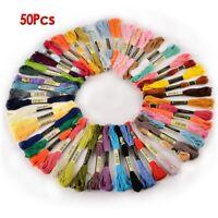1X(50 Docken Sticktwist Stickgarn 8m 6 faedig Multicolor farblich bunt J2H4)