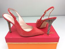 Kate Spade Lillian Poppy Red Slingback Pump Multicolor Sparkle Heels Size 8
