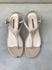 c8bdc0bf3fb PRADA Nude Patent Leather Sandlas Wedges Size 38.5EU