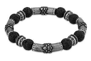 Police Jewelry Men's Bracelet Beads Lava Stone Black PEJGB2112401