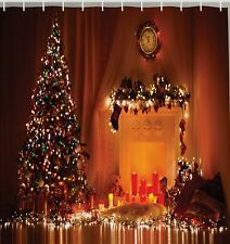 Fireplace Christmas Eve Tree Candles Fabric SHOWER CURTAIN Clock Midnight Hour