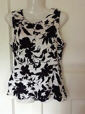 "Pretty Textured Wallis Top Black & Silver-White Size S 8 10 Bust 34"" Party"