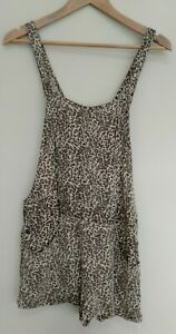 Stussy Leopard Print Women's Short Overalls Shortalls Size 8 Boho Beach