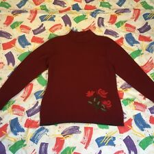 🌹 cotton traders Russet Red Rose Embroidery  Turtle Neck  jumper size 14/16 H1