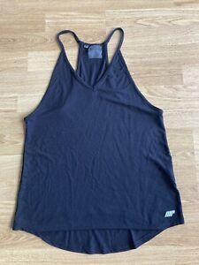 Ladies Myprotein Black Racer Back Gym Top running yoga UK10 nike adidas