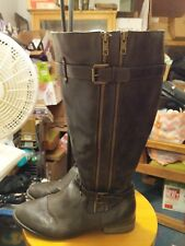 NICE!! TRISH Women's RIDING BOOTS, BROWN 3 ZIPPERS, 2 BUCKLES, W/STUDS SIZE 9.5,