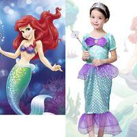 Girls Little MERMAID Ariel Fairytale Book Week Fancy Dress Costume Kids Age 3-10