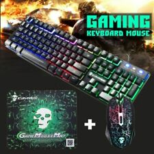 T6 Rainbow LED Backlit Ergonomic USB Gaming Keyboard, Mouse for Computer Gamers