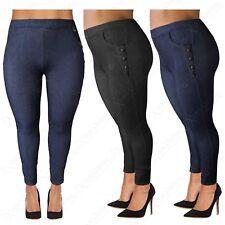 Talla Grande para Mujer Cintura Alta Piel Sintética Botones Leggings