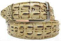 Belt Crocodile Alligator Head Cut Design Embossed Leather Cowboy Western Sand