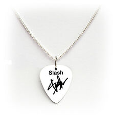 "GUNS N ROSES SLASH SIGNATURE GUITAR PICK PLECTRUM 24 ""COLLANA appetito ROCK"
