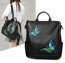 Women Genuine Cow Leather Backpack Shoulder Bag Travel Bag Handbag Butterfly