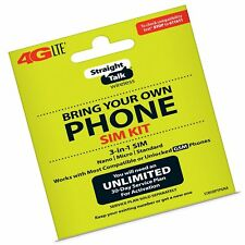 New Straight Talk Bring Your Own Phone (Byop) 3 size in 1 Sim card Kit At&T C.