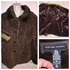 XL New York & Company Suede Leather Faux Animal Look Fur Lined Jacket Coat