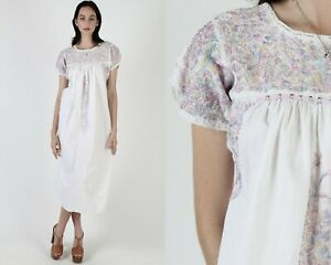 Vtg Oaxacan Mexican Dress Pastel Floral Embroidered White Cotton Fiesta Maxi