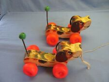 Pair of Fisher Price LITTLE SNOOPY #693 Toy VINTAGE 1965 Wooden Puppy
