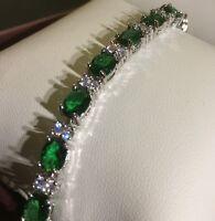 GB Green oval emerald & sim diamond silver (white gold gf) bracelet BOXD Plum UK