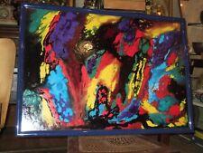 """Fond D'atelier,huile sur panneau, Abstrait beau format 103 cm /72 cm """"Ruiz"""" 1990"""