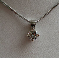 Brand New 1/4CT Diamond Solitaire 9ct White Gold Pendant & Chain £200 freepost