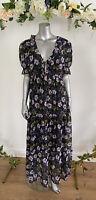 Tea Maxi Dress Lined Floral Tie Front Ruffle V Neck Size 8,12,22 EL08