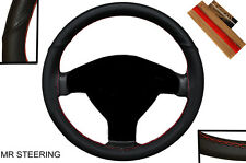 FANCY BLACK LEATHER STEERING WHEEL COVER FOR VW TRANSPORTER T5 03-09 RED STITCH