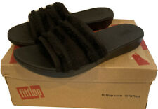NEW FitFlop Women's Sola Fringe Slide Sandal Black Canvas Slides Size 6