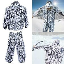 3D White Snow Camouflage Ghillie Suit Outdoor Covert Snow Hunting Cloth Jacket