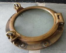 VINTAGE ship's BRASS PORT HOLE / Window / Porthole - 12 Inches GLASS (728)