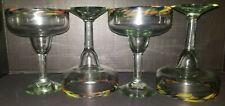 Lot of 4 Hand Blown Mexican Glass Margarita Glasses swirl confetti rim