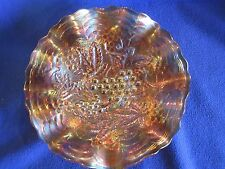 """Vintage Carnival Imperial Glass Grape 8-1/2"""" ruffled bowl in Marigold"""