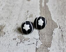 Vintage Black & White Mary Quant Fabric Button Earrings. Stud, Upcycled, Floral.