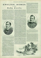 Antique Illustrated Print Baby Castle & Captain Forestier & Baron Barnard 1892