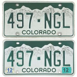 Colorado 2012 License Plate Pair Mountain Scene for Cruise Night Man Cave Gift