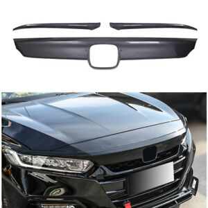 FOR 18-20 HONDA ACCORD FRONT GRILL MOLDING TRIM + EYELID COVER CARBON FIBER ABS