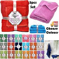 3pcs 100% Super Soft Egyptian Cotton Face Hand & Bath Bathroom Towel Bale Set UK