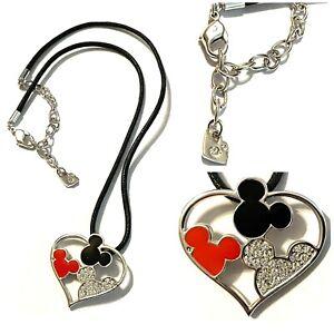 "Disney Mickey Swarovski Signed Rhinestone Heart Enamel Pendant Cord Necklace 17"""