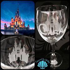 Personalised Disney Princess Castle Wine Glass Handmade & Free Name Engraving!