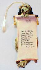 Victorian Paper Bookmark With String Tassel Friendship Puppy Dog Scroll