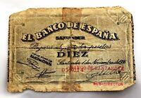 Spain-Guerra Civil. Billete. 10 Pesetas 1936. Banco de España, Santander. Raro