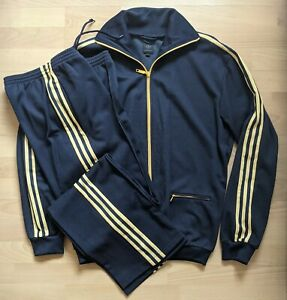 Mens Adidas Originals Navy Trefoil Full Tracksuit retro vintage Large/Medium