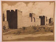 Mur Sud des remparts de Visby en Suède, lithographie de Louis SPARRE, 1911