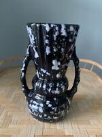 Vintage Black White Splatter Ware Small Grooved Handled Vase Art Deco Speckled