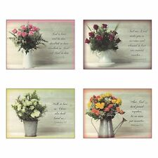 Pack of 12 Religious Boxed Enclosure Cards - Rose Bouqet - Wedding Card Pack,...