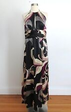 Trina Turk size 12 black silk print halter maxi dress evening wedding cocktail