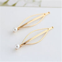 New 1Pair Girls Pearl Hair Pin Barrette Clips Side Hairpin Hair Accessories