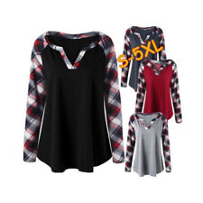 Women Long Sleeve T Shirt V Neck Casual Tops Plaid Contrast Loose Blouse Tunic