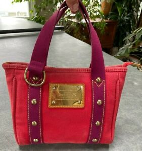 Louis Vuitton Red & Purple Cotton Cabas PM Tote Purse Gold Hardware #FL0035