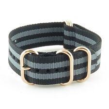 StrapsCo Heavy Duty 5 Ring Nylon Watch Strap Band w/ Rose Gold Rings