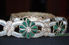Green, Gold and Cream Floral Trim for Women Wear, border width 4cm, 1 Meter